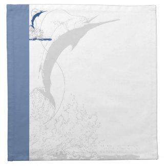 Aguja azul raya azul y aguja sombreada servilletas imprimidas