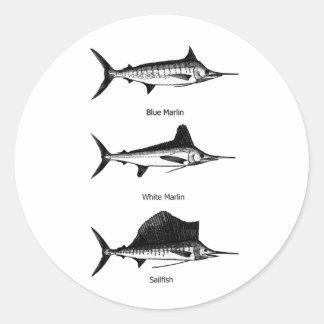 Aguja blanca - aguja azul - logotipo del pez pegatina redonda