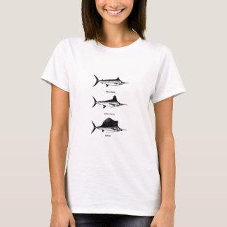 Aguja blanca - aguja azul - logotipo del pez playera