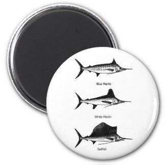 Aguja blanca - aguja azul - logotipo del pez volad imán redondo 5 cm