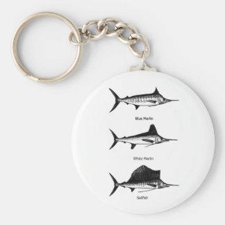 Aguja blanca - aguja azul - logotipo del pez volad llavero personalizado