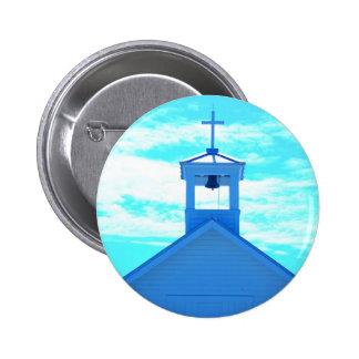 """Aguja """"cruzada"""" azul de la iglesia de Photo~, Boca Pin Redondo De 2 Pulgadas"""