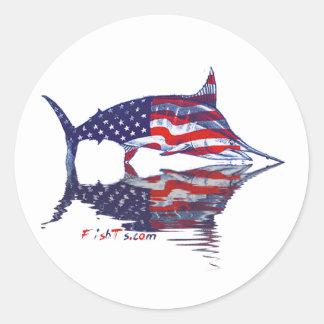 Aguja de AmericanFlag por FishTs.com Pegatinas Redondas