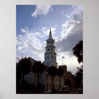 Aguja de la iglesia de St Philip, SC de Charleston Posters