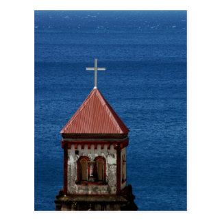 Aguja de la iglesia en el Caribe Tarjeta Postal