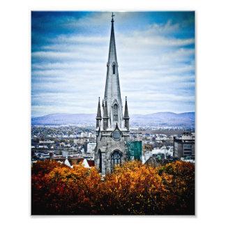 Aguja de la iglesia en la ciudad de Quebec vieja Fotografías