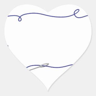 Aguja e hilo pegatina en forma de corazón