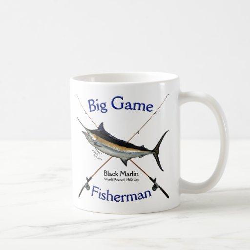 Aguja negra del pescador del gran juego taza clásica