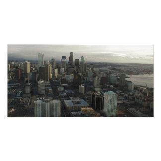 Aguja Seattle del espacio del edificio Tarjetas Fotograficas Personalizadas