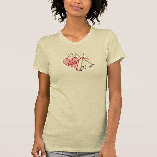 agujas que hacen punto del amor del punto del hila camisetas