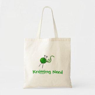 agujas que hacen punto del hilado verde empollón bolsa de mano