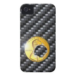 agujero de bala de la moneda de oro del carbono de iPhone 4 Case-Mate cárcasas