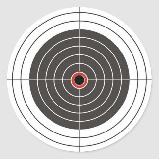Agujero de bala en la blanco - tiroteo de la diana etiqueta redonda
