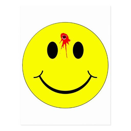 Agujero de bala sonriente tirado de la sangría de  tarjetas postales