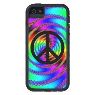 Agujero de gusano con el signo de la paz negro iPhone 5 carcasas