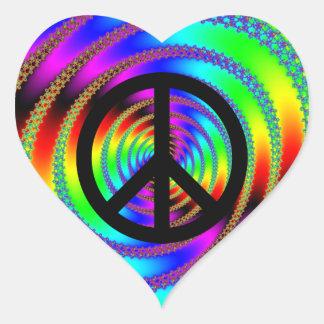 Agujero de gusano con el signo de la paz negro pegatina en forma de corazón