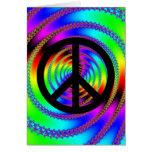 Agujero de gusano con el signo de la paz negro tarjeta