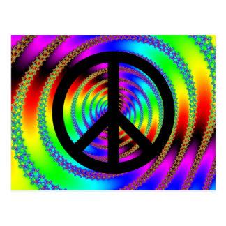 Agujero de gusano con el signo de la paz negro postales