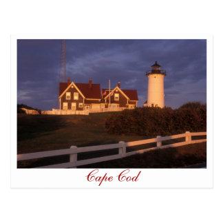 Agujero de maderas del faro de Cape Cod Nobska Tarjeta Postal