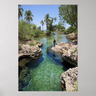 Agujero del cocodrilo, ciudad negra del río, Jamai Póster