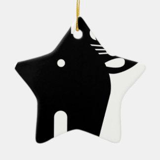 Agujero del extremo del gato negro adorno navideño de cerámica en forma de estrella