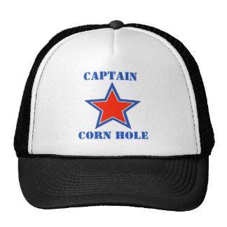 Agujero del maíz del capitán de la camiseta gorros bordados