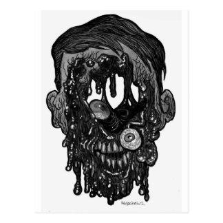 agujero del whith del zombi en cara postal