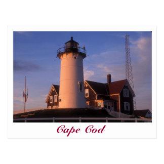 Agujero Falmouth de maderas de Cape Cod del faro Tarjeta Postal