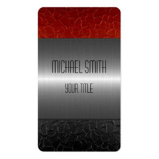 Agujero negro y rojo del metal del acero inoxidabl tarjetas de visita