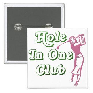 Agujero para mujer del golf en un recuerdo pin cuadrado