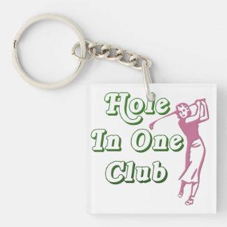 Agujero para mujer personalizado del golf en un llavero cuadrado acrílico a doble cara