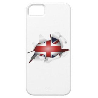 Agujero rasgado diversión con la bandera del Union iPhone 5 Case-Mate Protectores