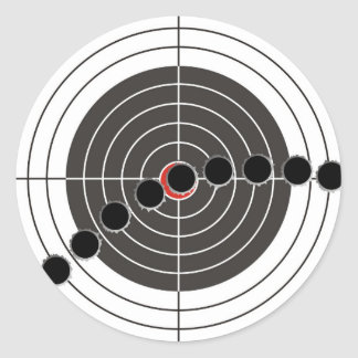 Agujeros de bala de la ametralladora sobre blanco pegatina redonda
