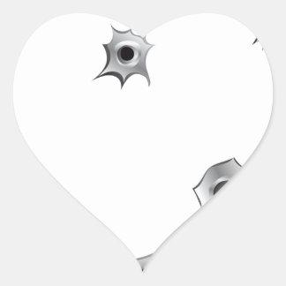 Agujeros de bala divertidos pegatina en forma de corazón