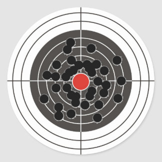 ¡Agujeros de bala en blanco - pero no la diana! Pegatina Redonda