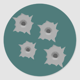 agujeros de bala en la pared pegatina redonda