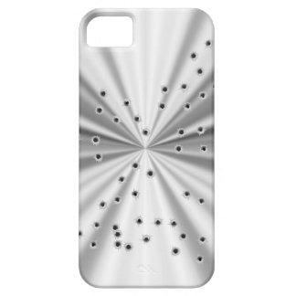 Agujeros metálicos de plata de la mirada y de bala funda para iPhone 5 barely there