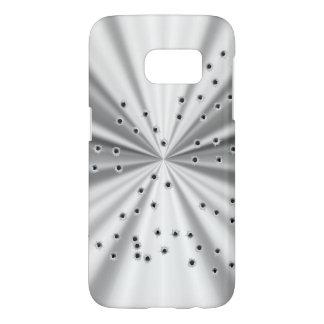Agujeros metálicos de plata de la mirada y de bala fundas samsung galaxy s7
