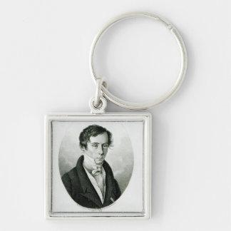 Agustín Jean Fresnel 1825 Llavero Cuadrado Plateado