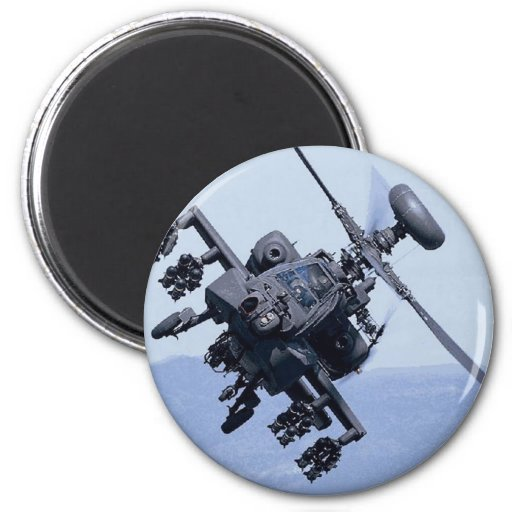 AH-64 APACHE HELICOPTER 2 INCH ROUND MAGNET