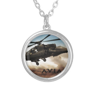 AH-64 Apache Helicopter Silver Plated Necklace