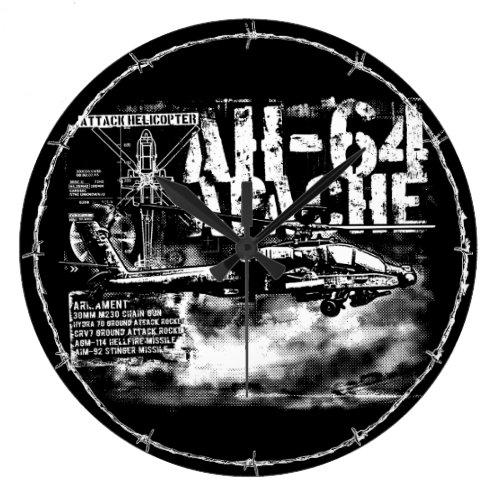 AH_64 Apache Round Large Wall Clock