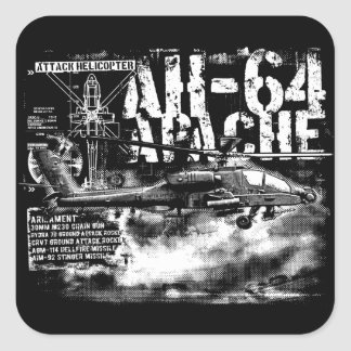 AH-64 Apache Square Stickers