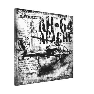AH-64 Apache Wrapped Canvas