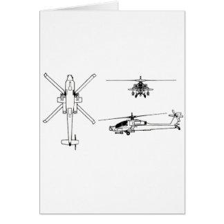 AH-64 blueprint Greeting Cards