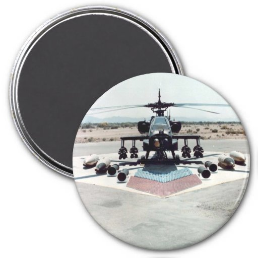 Ah-64_ground_with_weapons 3 Inch Round Magnet