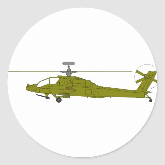 AH-64D attack helicopter Classic Round Sticker