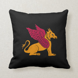 AH- Awesome Gryphon Art Black Pillow Design