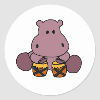 AH- Awesome Hippo Playing Bongo Drums Classic Round Sticker