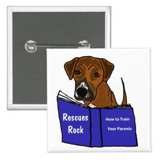 AH botón lindo del rescate del perro de perrito Pin Cuadrado